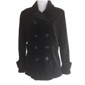 Black Brushed Corduroy Doubled Breasted Jacket